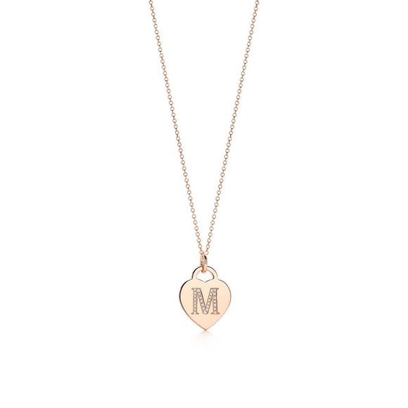 22183343f Tiffany & Co. Jewelry | Tiffany Co Rose Gold Diamond M Heart Chain ...